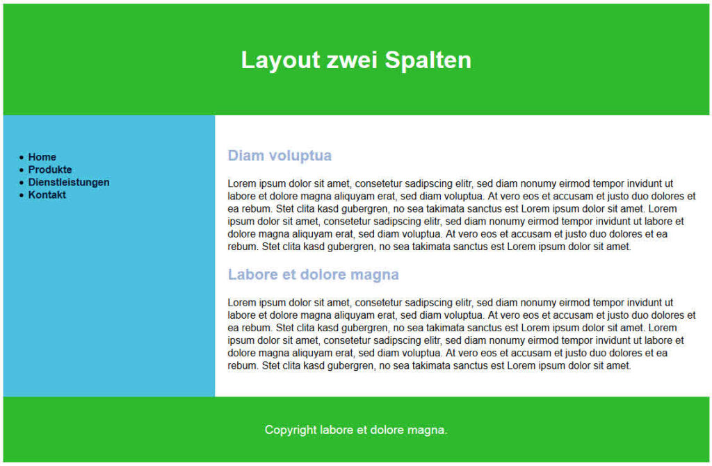 Zweispaltiges Layout mit display: table