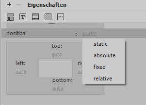 Positionierung im Dreamweaver CSS Designer