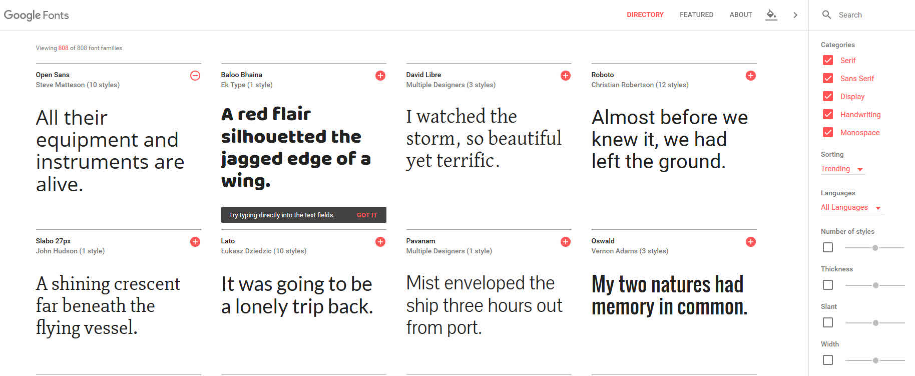 Google Fonts – Website: Neues Design