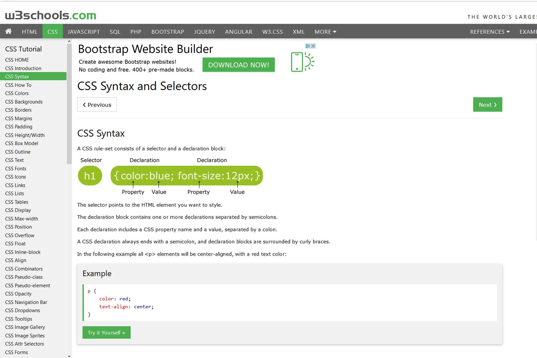 HTML-Tutorial bei w3schools