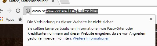 Sicherheitswarnung in Chrome.
