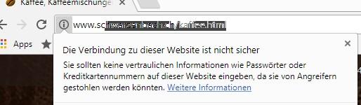 Sicherheitswarnung in Chrome.